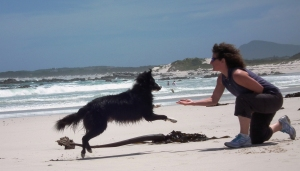 Marion playing with Storm on the beach.