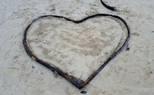 Unexpected message on the beach.
